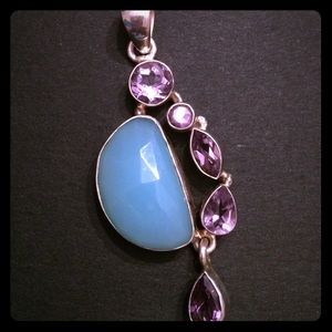 Jewelry - Blue Chalcedony and Amethyst Pendant